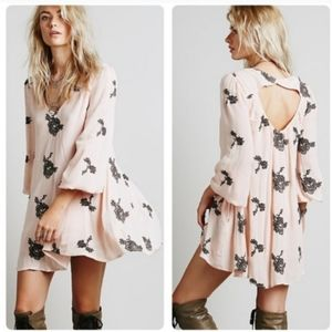 Free People Anthropologie XS pink gray embroidered